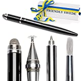 The Friendly Swede 4-in-1 kapazitive Eingabestifte Multifunktions-Stylus mit displayschonender Pinsel-Technologie (schwarz)