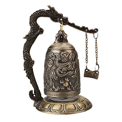 Kicode Vintage Estilo Bronce Cerradura Dragón Tallado Budista Bell Artesanía china Decoración...