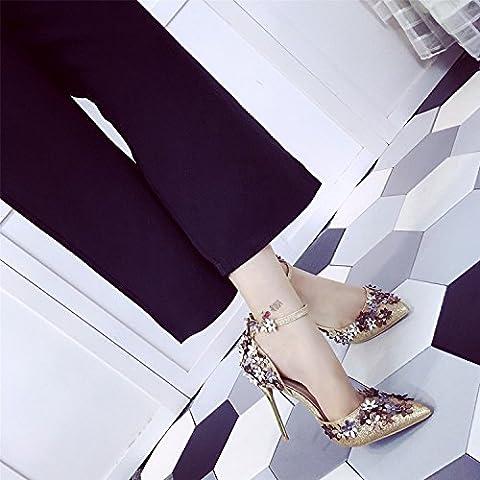 San Moda europeo e americano femminile primavera fiori punta a spillo scarpe asakuchi fibbia tacchi molto alti piedi anello banchetto nozze , gold , 38