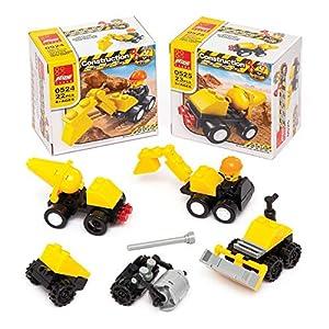 Baker Ross- Kits de montaje con bloques para crear maquinaria de construcción (Pack de 4) - Actividad de manualidades infantiles para bolsas sorpresa o regalar