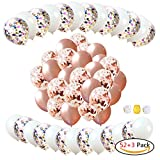 """YINVA 12"""" Rose Gold Confetti Balloons Set 52 Pcs Including 26 Pcs Latex Balloons 26 Pcs Confetti Balloon Wedding,Birthday Party,Hen Party,Bridal Shower,Rose Gold Party Decorations"""