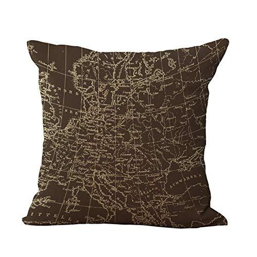 MEHOUSE Taies d'oreiller, MéDiterranéEn Vieux Nautique Carte du Monde Coton Et Lin Housse de Coussin Throw Pillow Case Cushion Cover 45X45CM