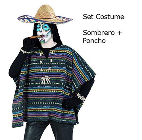 Kostüm Set Poncho und Sombrero, Mexikaner, (Mexiko Kostüme)