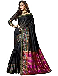 Vastrang Sarees Women's Cotton Silk Saree With Blouse Piece (28501_Black)