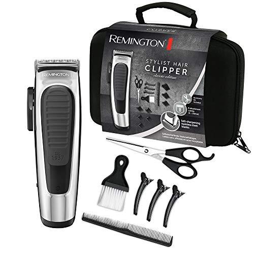 Remington Haarschneidemaschine Styling Classic HC450 (selbstschärfende Edelstahlklingen, 8 Aufsteckkämme+Aufbewahrungstasche, Netz-/Akkubetrieb, modernes Design mit Chromapplikationen) Haarschneider