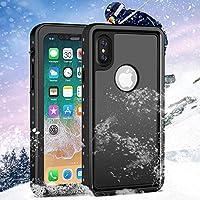 iPhone XS/X Wasserdichte Hülle,HWeggo Outdoor Ganzkörper [IP68 Zertifiziert] Wasserdichte Schutzhülle Stoßfest Staubdicht Wasserfeste Hülle mit Eingebautem Displayschutz für iPhone XS/iPhone X