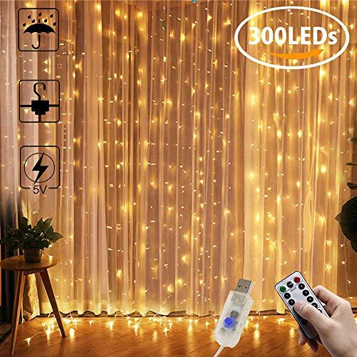 Tenda luminosa AYUTOY LED Luci Cascata per Finestra 3x3m 300 LED Telecomando 8 Modalità per Decorazione Festiva (IP65, Bianco Caldo, Cavo USB) [Classe di efficienza energetica A]