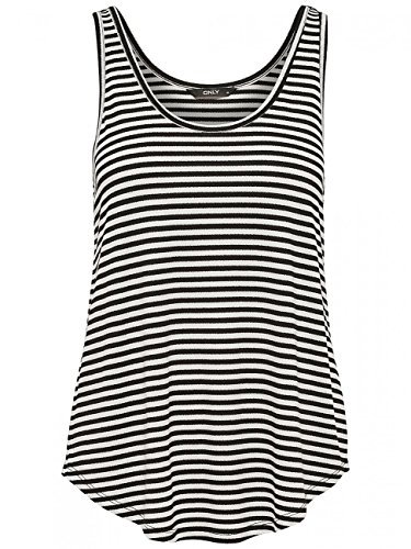 ONLY NOS Damen Onlbera Tank Top JRS Mehrfarbig (Black Stripes:Cloud Dancer)