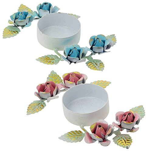Set of 2 Diwali Candle Lights Holders Colorful Floral Decorations for Rangoli