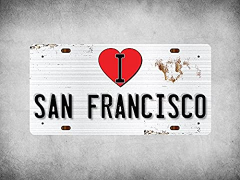 WP_ILC_032 I Love (Heart) SAN FRANCISCO (rusty metal style design) - Metal Wall Plate