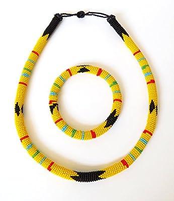 Parure collier et bracelet en perles Sud Africain Zoulou - Jaune