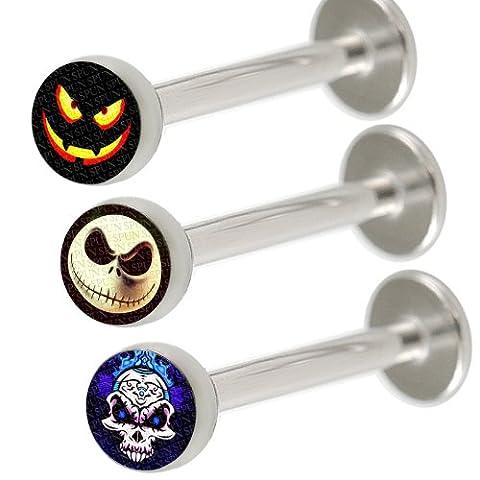 16g 16 gauge 1.2mm 5/16 8mm Steel lip monroe ring labret ear stud bars lot KBPY Body piercing Jewellery 3pcs