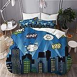 XINGAKA Housse de Couette imprimée,Super héros Panneau bâtiments Cityscape City Cartoon Skyline,Ensemble de literie 3 pièces en Polyester à la Mode Double-200x200cm