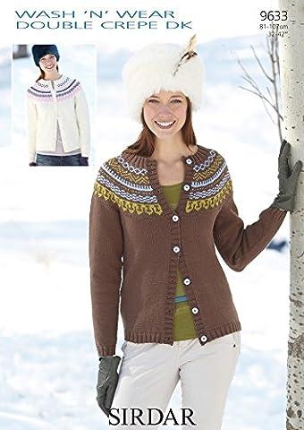 Sirdar Wool Wash 'N' 'wear Double Crêpe dk Motif–9633Mesdames Cardigan 81–107cm (32–42cm)