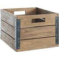 Aufbewahrungsbox Fendy offen Teakholz Ordnungsbox Box Kiste Holz Mehrzweckkiste (groß (24x32x35 cm)) preisvergleich bei kinderzimmerdekopreise.eu