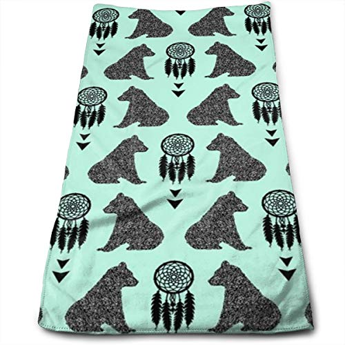 Kaixin J Bear Cubs with Dream Catchers Mint_9115 Microfiber Bath Towels,Soft, Super Absorbent and Fast Drying, Antibacterial, Use for Sports, Travel, Fitness, Yoga 12 * 27.5 Inch