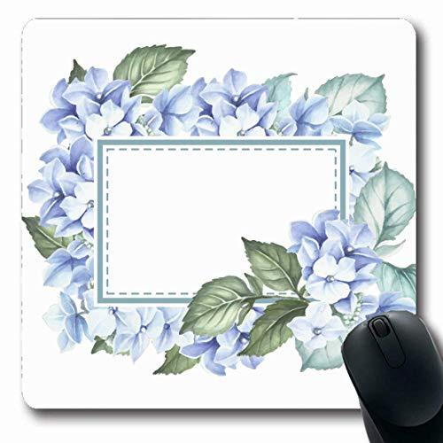 Mousepad Oblong Garden Blue Flower Aquarell Hydrangea Natur Bloom Blossom Border Bouquet Feier Design Büro Computer Laptop Notebook Mauspad, Rutschfeste Gummi,Gummimatte 11,8
