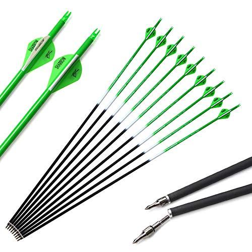 SHARROW 12 Stück Carbonpfeile 30 Zoll Jagdpfeile Pfeile für Bogen Bogenpfeile Spine 500 mit Pfeil Köcher für Recurvebogen und Compoundbögen (Grün)
