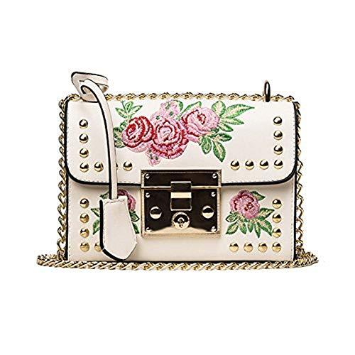 Baggra Mädchen Damen Leder Kurier Beutel Blumen Handtaschen Dame Kleine Umhängetasche Schultertasche Schwarz/Weiß (weiß 2) (Weiße Gucci-tasche)