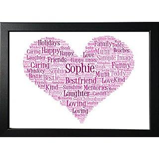 Mothers Day Mum Personalised Gift Heart Print Word Art Love, Mum, Teacher, Best Friend, Wedding, Bridesmaid, New Home, Birthday, Celebration & FREE FRAME