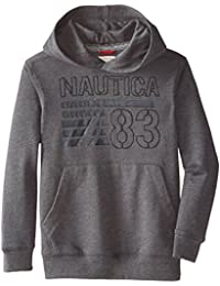 Nautica Big Boys' French Terry Pullover, Coal Heather, Medium