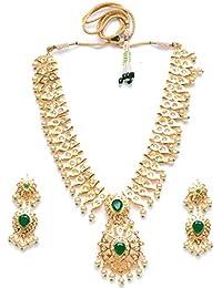 Zevarcraft Alloy Green And Gold Color Necklace Set For Women Ze-002