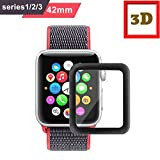 #2: M.G.R.J Apple Watch 3D Full Coverage Screen Protector for 42mm Apple Watch, Tempered Glass, Anti-Scratch, Bubble-Free for iWatch 42mm with Series 1/ 2/ 3 - Black