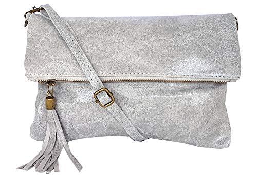 Klein Leder (zarolo Damen Umhängetasche,Tasche klein, Schultertasche, Cross Body, Leder Clutch echtes Leder, Handtasche Italienische Handarbeit M20590)