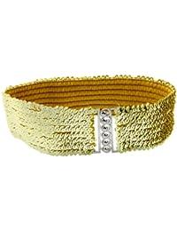 sourcingmap® Mesdames paillettes métalliques boucles imbriquées Décoration ceinture élastiquée