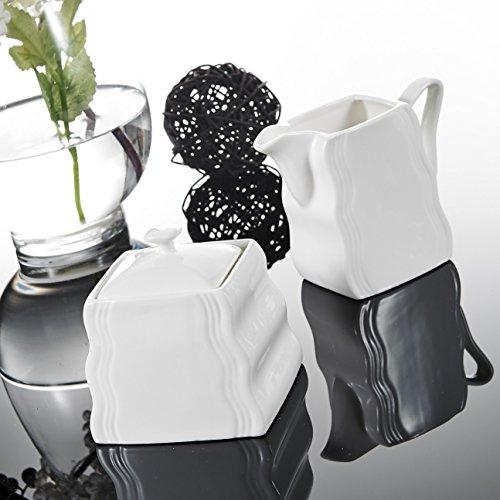 Malacasa, Serie Mario, 3-teilig Cremeweiß Porzellan Milch und Zucker Set mit Deckel, Milchkännchen Zuckerdose Milch- & Zuckerbehälter Küchenhelfer