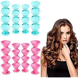Vordas Welecoco Bigoudis Silicone, 40 Pièces Bigoudis en Silicone Cheveux DIY Rouleaux Bigoudis Reusable Kit de Rouleaux de Cheveux Magiques(20 Bleue+20 Rose)