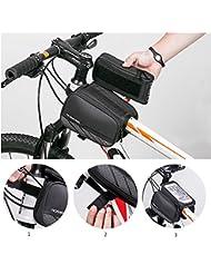 Sacoche de Cadre pour Vélo Sacoche de Vélo avant Top Tube Cadre Pannier Double Pochette Imperméable pour 5,7'' Téléphone Portable