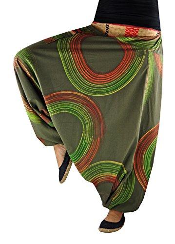 virblatt Haremshose mit traditionellen Webereien UNISEX Einheitsgröße S - L Aladinhose mit handgemaltem Muster alternative Kleidung-Luftschloss