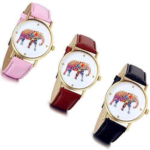 lancardo mujeres elefante patrón pu cuero banda pulsera cuarzo dial reloj regalo (Pack de 3)