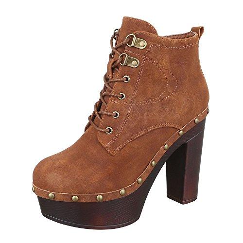 oots Damen Schuhe Combat Boots Pump High Heels Reißverschluss Stiefeletten Camel, Gr 36, F100-1- (Fuß Soldaten Kostüm)