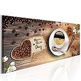 decomonkey Bilder Kaffee Küche 150x50 cm XXL Leinwandbilder Bild auf Leinwand Vlies Wandbild Kunstdruck Wanddeko Wand Wohnzimmer Wanddekoration Deko Kochen Caffe Herz Blumen