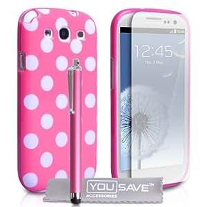 Yousave Accessories SA-EA01-Z681P Pack de Housse en Silicone + Stylet + Film de Protection d'Ecran + Tissu de Polissage pour Samsung Galaxy S3