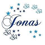 Wandtattoo Set personalisiert Wunsch Namen mit Schmetterlingen+Sternen in Königsblau und Hellblau Wand Spruch Kinderzimmer Baby