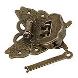 Antiguo de Aleación de zinc hebilla de mariposa joyas caja candado con bloqueo y clave