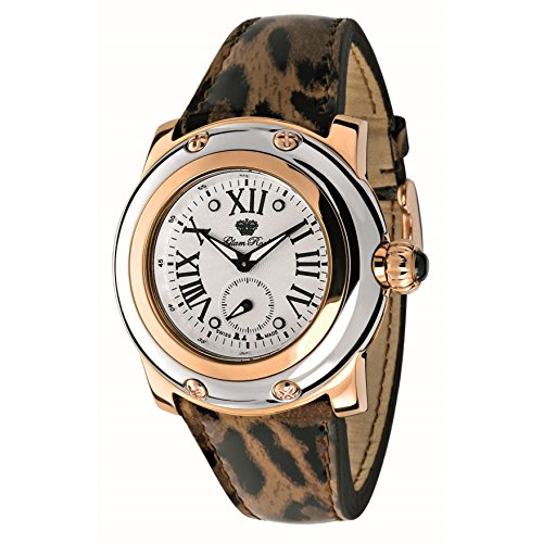 Glam Rock Women's SummerTime 40mm Brown Leather Band Rose Gold Plated Case Swiss Quartz Watch GR40062