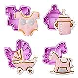 Gwhole Confezione da 4 formine per Biscotti Baby Party Set Bambini Tagliabiscotti per Biscotti Decorazione Torta Fondente