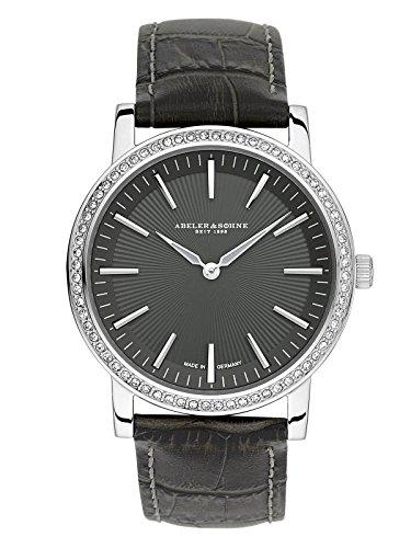 Abeler & Söhne fabricado en Alemania–Reloj de pulsera para mujer con cinta de piel, cristal de zafiro y Circonia as1206