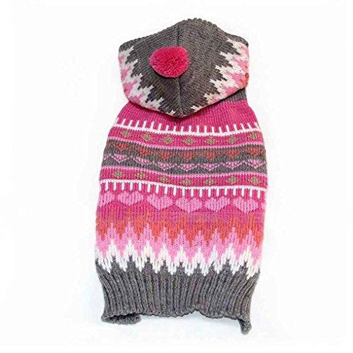 tskleidung Hündchen Warm Halten Knit Sweater mit Kapuze Mantel mit Kappe Balls Kostüm XXS-L (Das Kostüm Design Prozess)