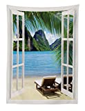 Abakuhaus Strand Wandteppich Palmen und Meer Sommeraus Weiches Mikrofaser Stoff 110x150cm Für den Wohn und Schlafzimmer Druck Blau-grün-weiß
