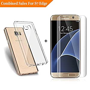 [Warranty]Galaxy S7 Edge Screen Protector And Case(Included) Shock-absorbing Anti-Scratch Crystal TPU Cover [Anti-Bubble] [HD PET Film] Curved Edge to Edge Screen Film for Samsung Galaxy S7 Edge