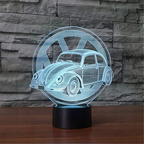 3D Lampe, Käfer Auto, Usb-Schnittstelle, Bunte Touch Fernbedienung Schalter Nachtlicht Nachttischlampe Kind Geschenk