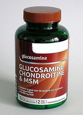 Glucosamin mit Chondroitin, MSM, Vitaminen und Mineralien 120 Tabletten (Mangan 250 Tabletten)
