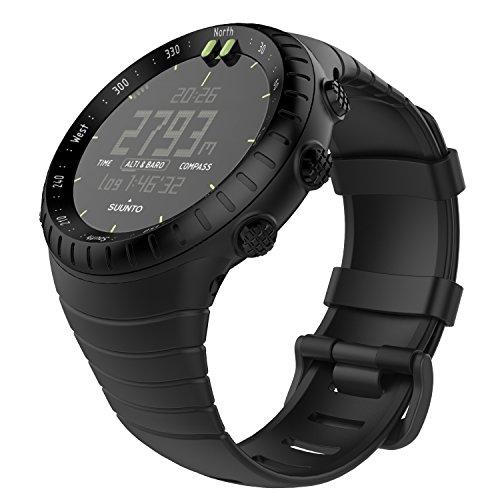 MoKo Suunto Core Watch Armband - TPU Sportarmband Uhr Band Strap Erstatzband Uhrenarmband für Suunto Core Samrtwatch, Armbandlänge 140mm-230mm, Schwarz