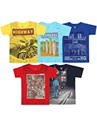 Elk Kids Boy's Round Neck Multi Colour Printed Half Sleeve 100% Cotton Pack of 5