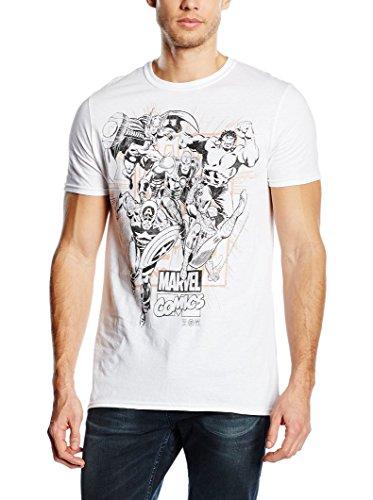 Marvel Marvel Band of Heroes T-shirt-T-shirt  Uomo    bianco Large